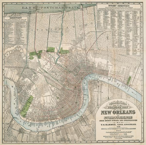 Topographical And Drainage Map Of New Orleans And Surroundings