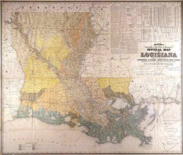 Geographical Map Of Texas.Hardee S New Geographical And Statistical Official Map Of Louisiana